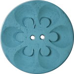 Button with Six Circles within Circles, Turquoise
