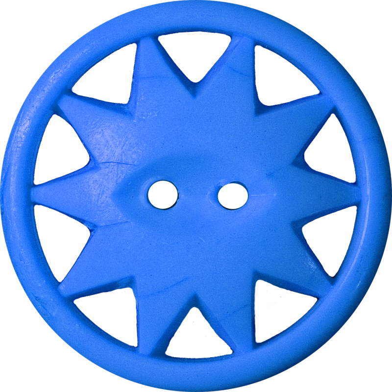 Button with Ten-Pointed Star Inscribed in a Circle, Blue