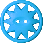 Button with Ten-Pointed Star Inscribed in a Circle, Light Blue