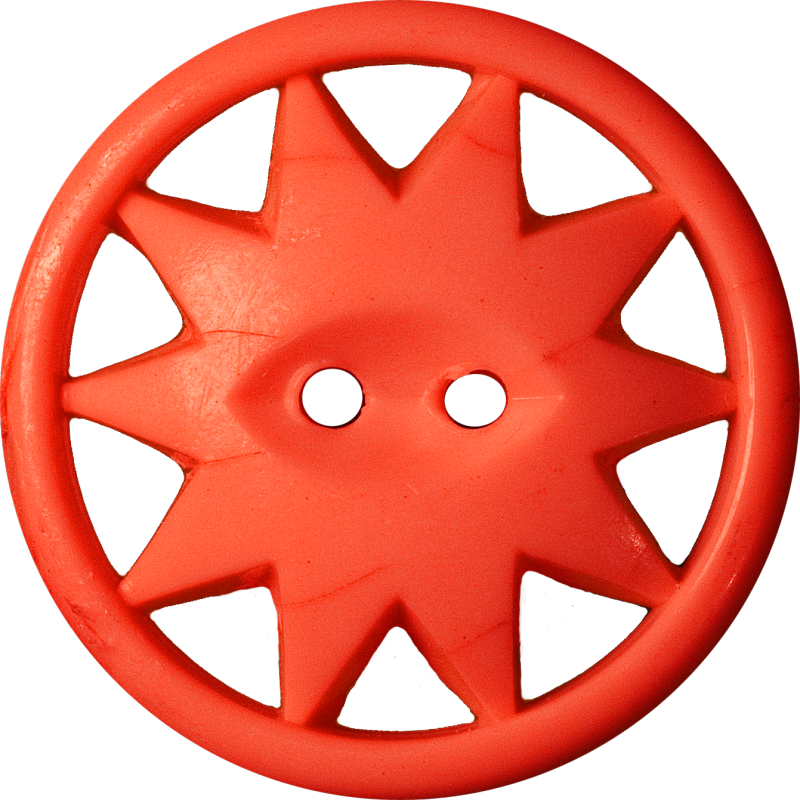 Button with Ten-Pointed Star Inscribed in a Circle, Red-Orange