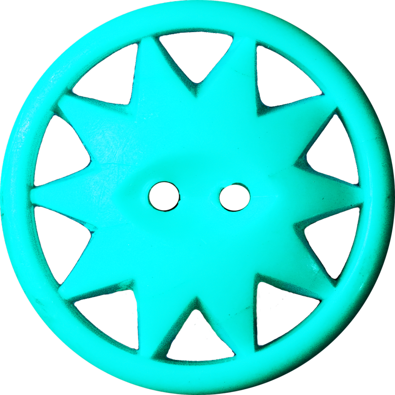 Button with Ten-Pointed Star Inscribed in a Circle, Turquoise