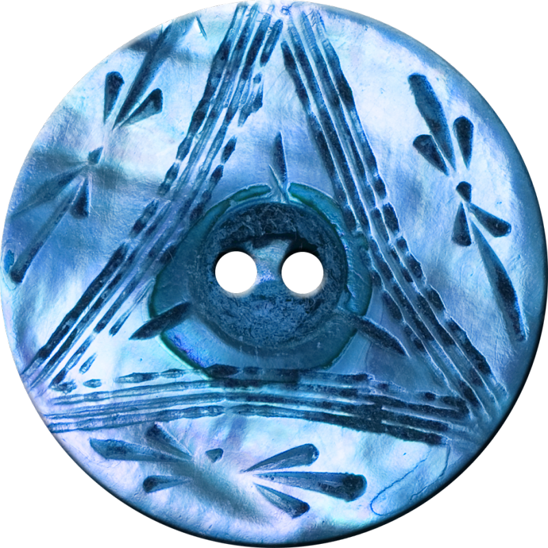 Button with Triangle and Floral Design, Blue
