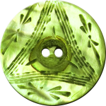Button with Triangle and Floral Design, Lime Green