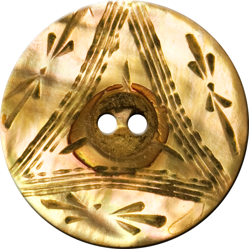 Button with Triangle and Floral Design, Old Gold