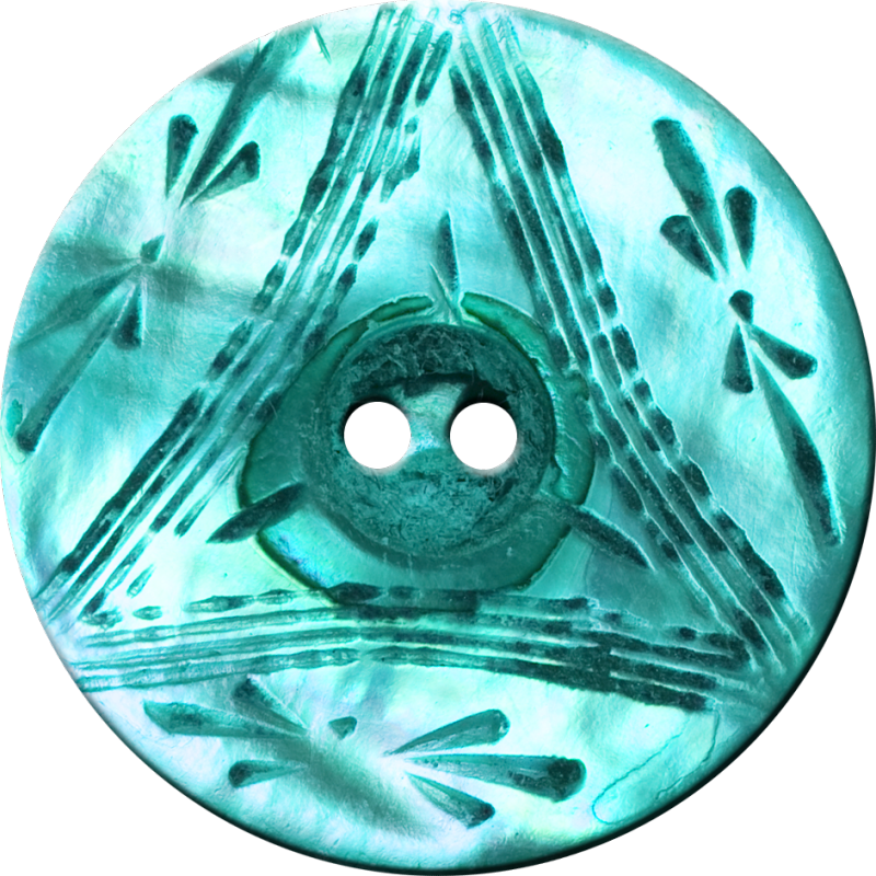Button with Triangle and Floral Design, Turquoise