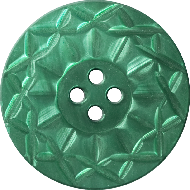 Button with Twelve-Pointed Intertwining Border, Blue-Green