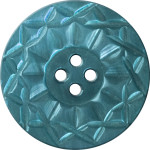 Button with Twelve-Pointed Intertwining Border, Turquoise