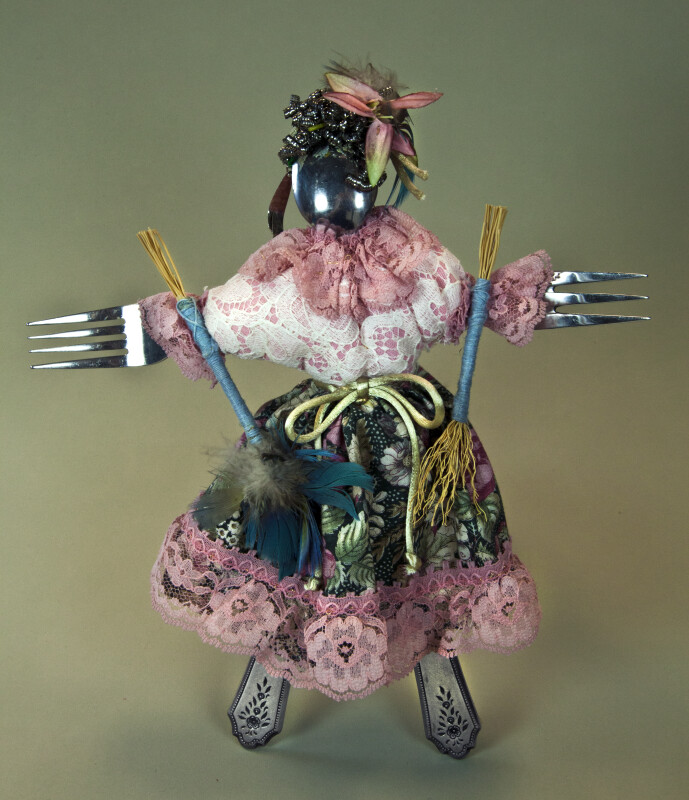 California Female Doll Created with Kitchen Utensils, Including Forks, Spoon, and Knives (Full View)