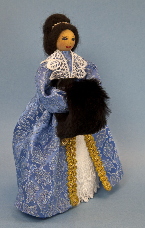 Canada Doll Made from Wood and Dressed as the Governor's Wife (Three Quarter View)