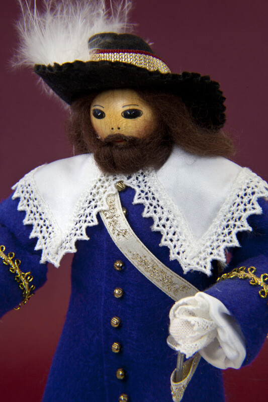 Canada Male Doll Made from Wood, Wearing a Costume Depicting a Governor in 1670 (Close Up)