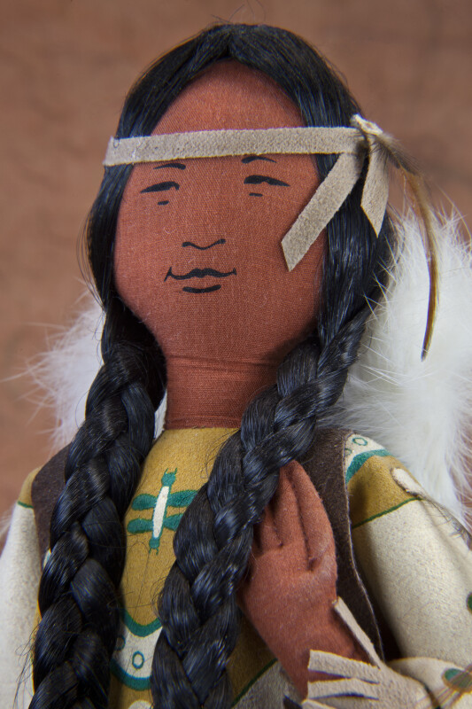 Canada Ontario Cloth Female Indian Woman with Leather Headband, Synthetic Braids, and Fur Covered Papoose (Extreme Close Up)