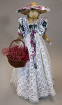 Canada Ontario Female Doll Handcrafted from Straw Holding a Basket with Straw Flowers (Full View)