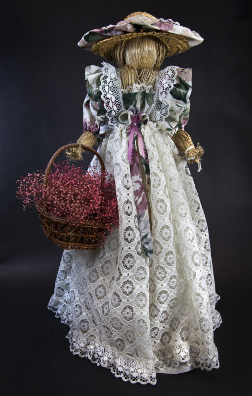 Canada Ontario Large Female Doll Made with Straw Holding a Straw Basket (Full View)