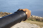Cannon with a Leather Covering Strapped Over the End of the Barrel, Close-up