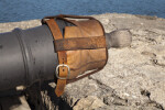 Cannon with a Leather Covering Strapped Over the Opening of the Barrel, Close-up
