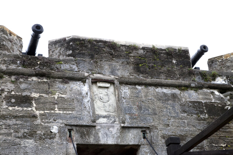 Cannons above a Coat of Arms
