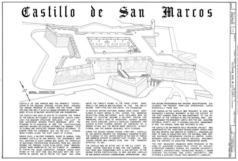 Castillo de San Marcos Aerial Perspective Drawing, 1987