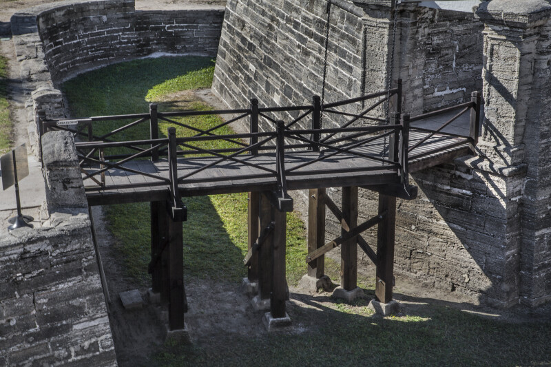 Castillo de San Marcos' Elevated Walkway Passing Over Moat from Covered Way to Ravelin