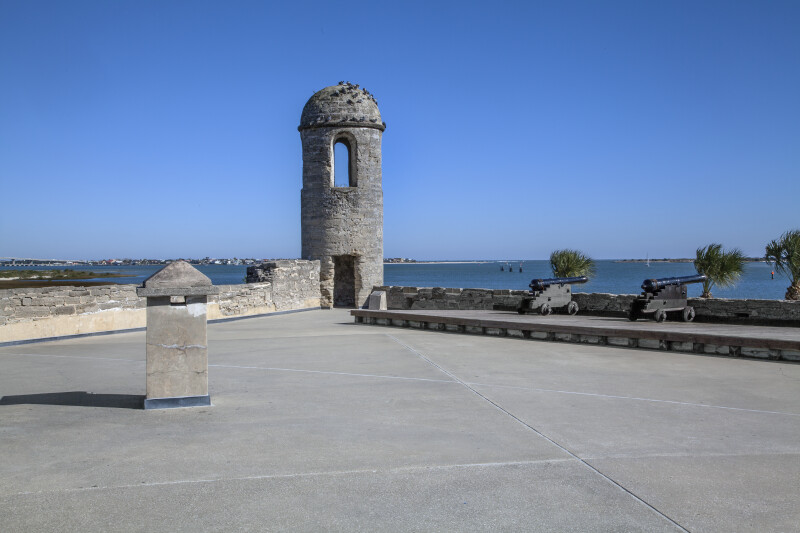 Castillo de San Marcos Main Watch Tower with Matanzas River in Background