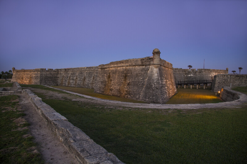 Castillo de San Marcos' Northwest, Southwest, and Southeast Corners from the Glacis