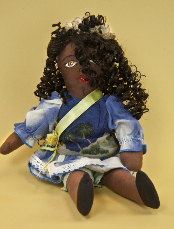 Cayman Islands Doll with Print Dress and Hand Painted Face (Full View)