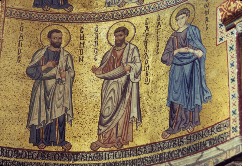 Cefalù cathedral, mosaics, apse wall, apostles, Sts. Simon, Bartholomew and Thomas