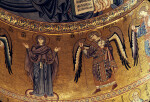 Cefalù cathedral, mosaics, apse wall, Mary and archangel Gabriel