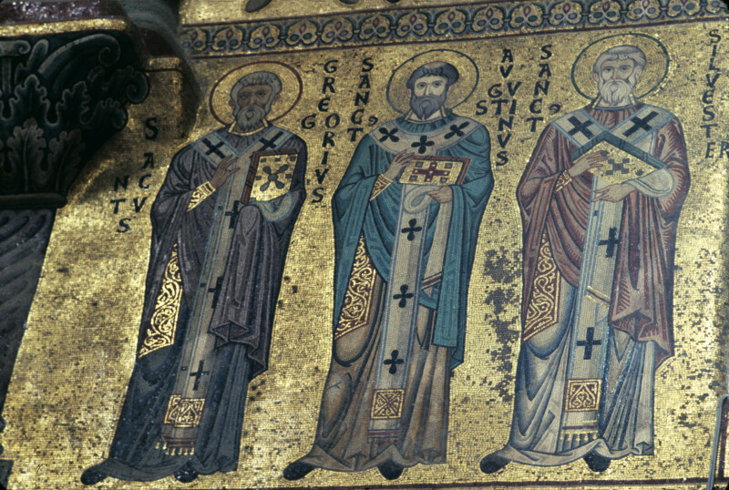 Cefalù cathedral, mosaics, north wall of choir, Sts. Gregory, Augustine and Silvester