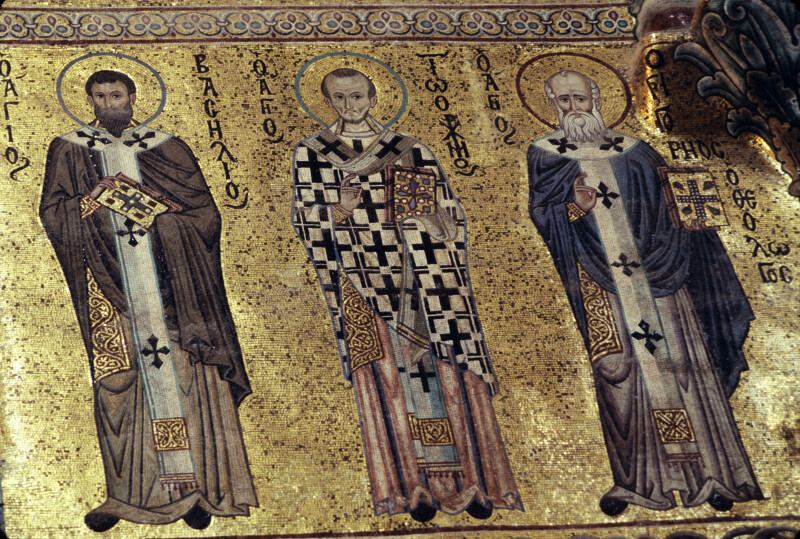 Cefalù cathedral, south wall of choir, Sts. Basil, John Chrysostom and Gregory of Nazienzus