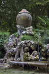 Ceramic Pot Above a Waterfall at the Villa Borghese Gardens