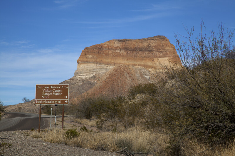 Cerro Castellan with Road Sign