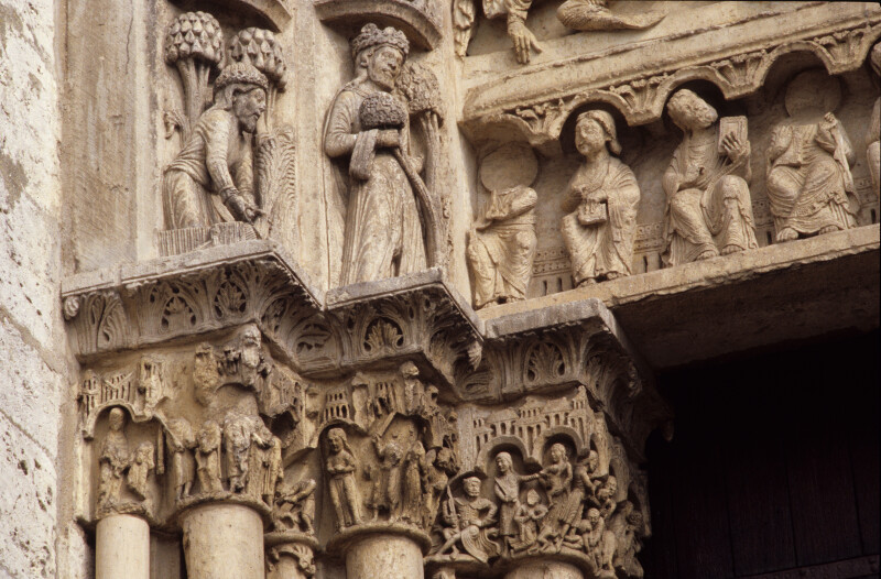 Chartres Cathedral, Ascension portal, capital frieze and archivolts, Massacre of the Innocents, July, April