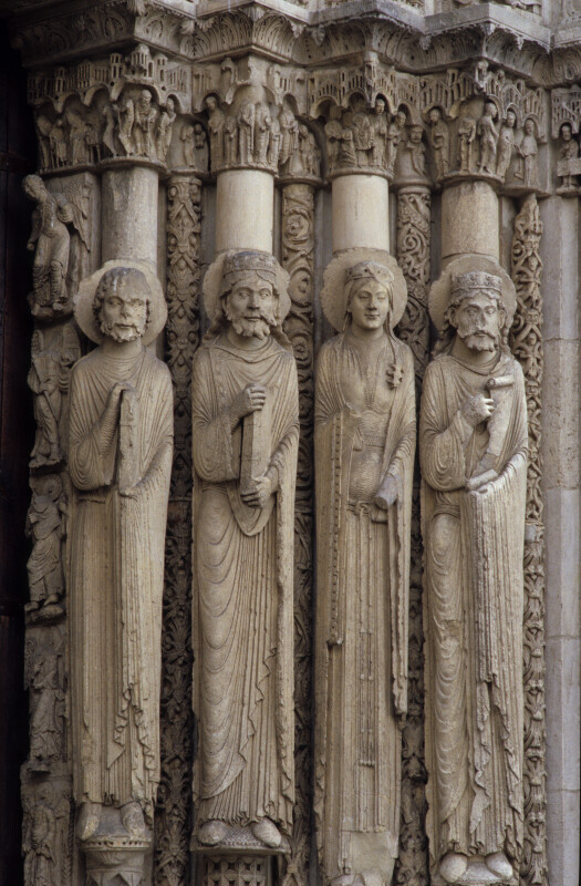 Chartres Cathedral, Maiestas Domini portal, right jamb figures
