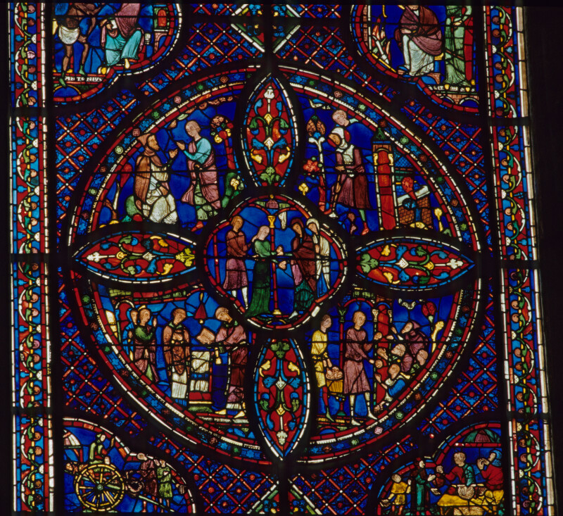 Chartres cathedral, Stained Glass, Life of St. Antony of Egypt, The Beginning of His Vocation