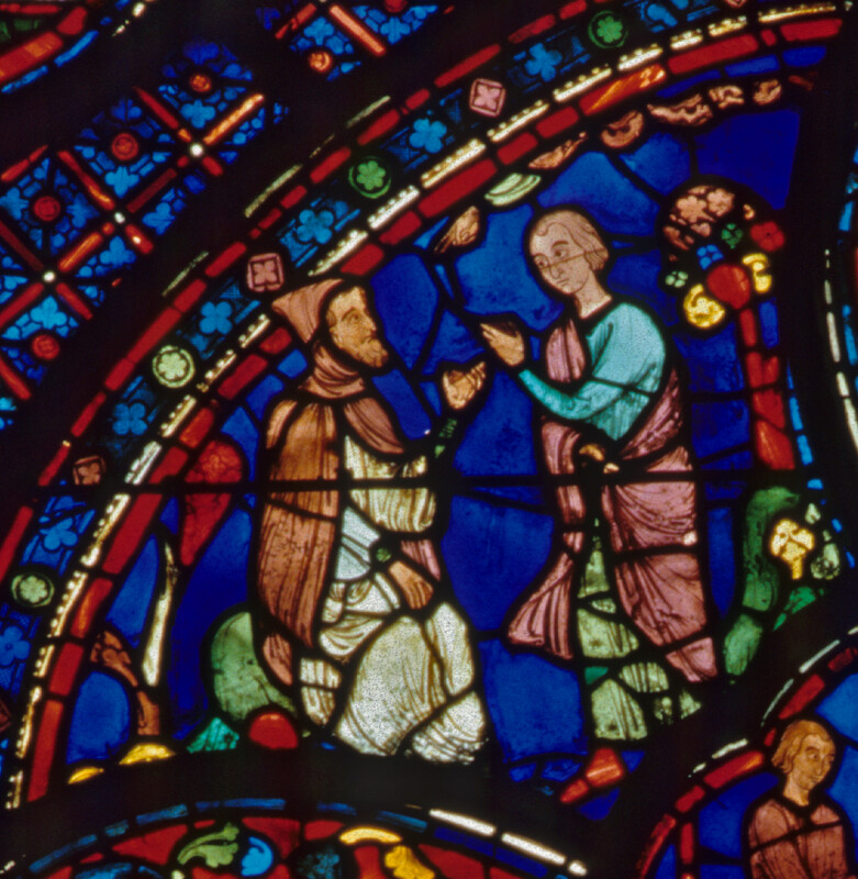 Chartres cathedral, Stained Glass, St. Antony Visits an Elderly Hermit to Learn the Monastic Life