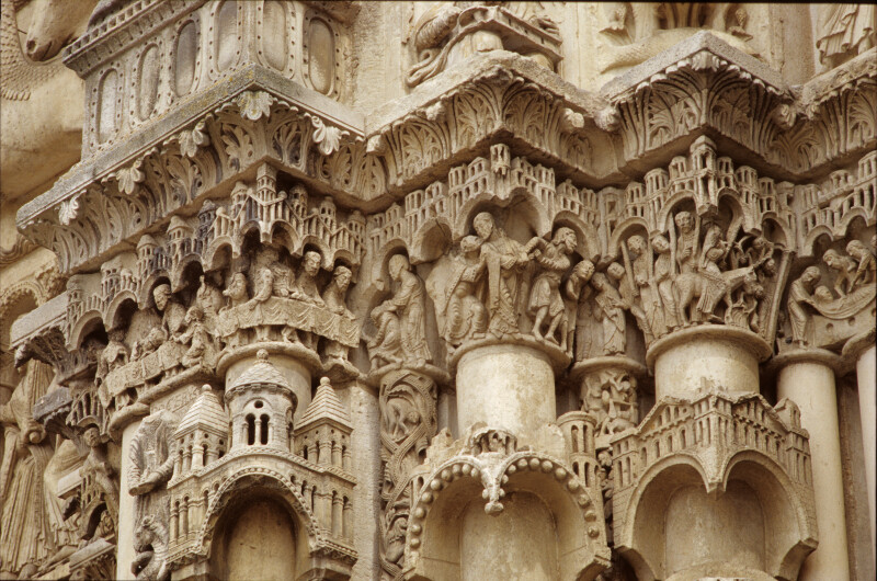 Chartres Cathedral, west portals, capital frieze between center and right portals, inner faces