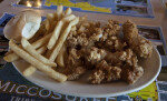 Fried Alligator, French Fries, and Bread Roll