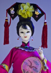 China Female Figure Holding Hand Painted Silk Fan (Close Up)