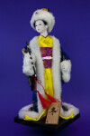 China Porcelain Doll in Kimono and Brocade Coat with Fur Trim (Full View)