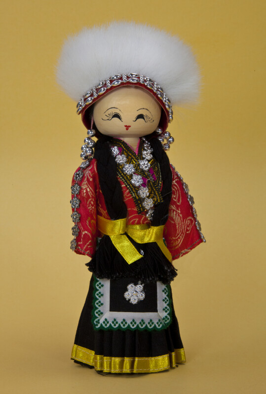 China Wooden Doll with White Fur Hat and Brocade Blouse (Full View)