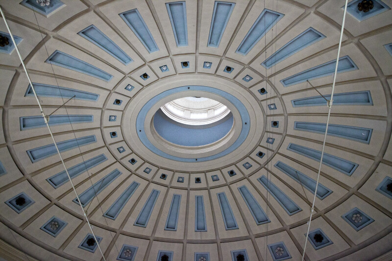Circular Roof with Light-Blue and Greyish Coloring