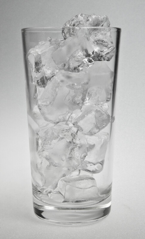 Clear Glass of Ice Cubes