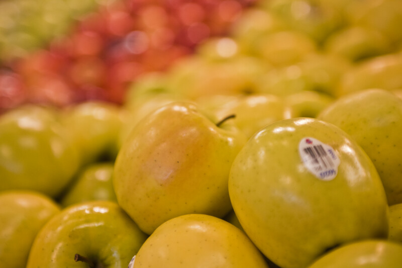Close-up Display of Golden Delicious Apples