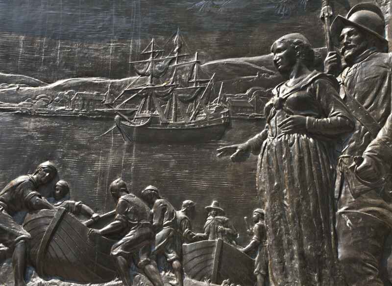 Close-Up of Bronze Bas-Relief on the Founders' Memorial at Boston Common