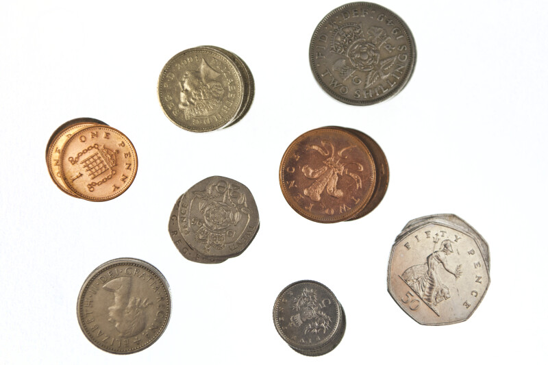 Close-up of Coins from Great Britain