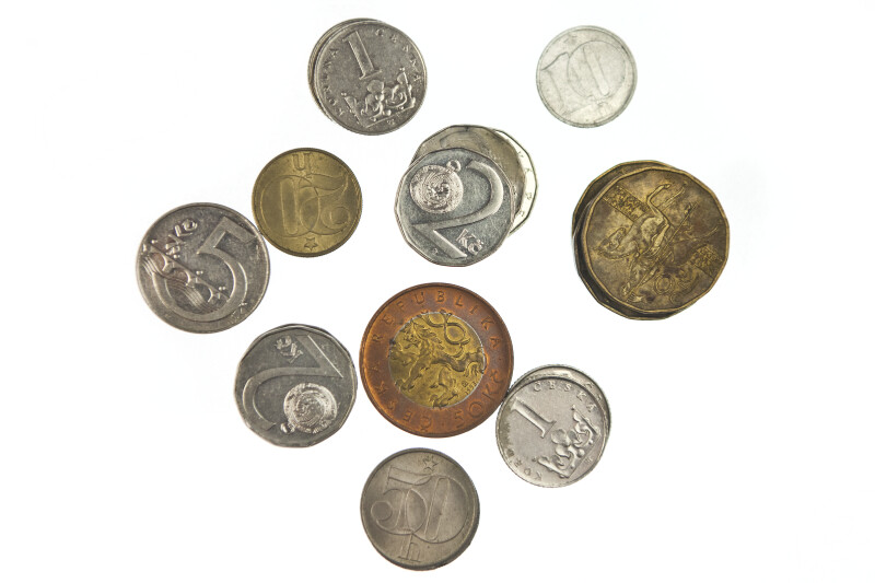 Close-up of Czech Republic Coins