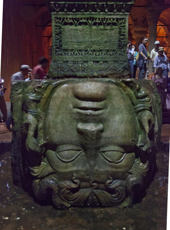 Close-Up of Medusa's Upside-Down Head Serving as the Base of a Column at the Basilica Cistern
