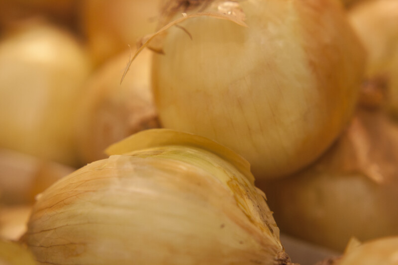 Close-up of Two Onions with Skin