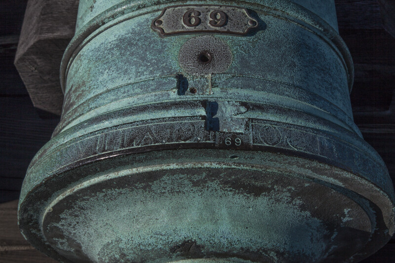Close-Up View of an Oxidized, Bronze 12-Pounder Cannon