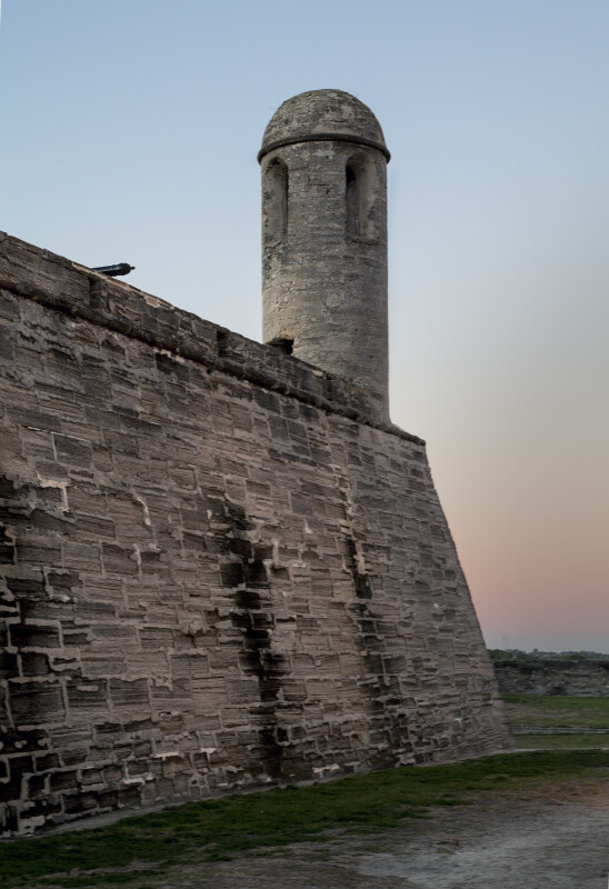 Close-Up View of Castillo de San Marcos' Northeast Wall and Sentry Tower